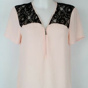 1.State Pink Lace Sheer Blouse Size Small